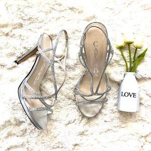 Caparros Silver Rhinestone Embellished Heel Sandal